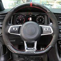 Karbon fiber Siyah Süet Araç Direksiyon Kapak Volkswagen Golf 7 GTI Golf R MK7 Polo Scirocco 2015 2016 için