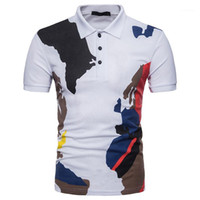 Günlük Kamuflaj Baskılı Kısa Kollu Tişört Casual Yaz Erkek Giyim Yeni Stil Erkek Tasarımcı Polo Moda