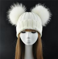 Зимний Real Fur Ball Beanie Hat для женщин Ladies Пушистый Double Natural Raccoon Fur Pom Pom Skullies Beanie Hat С 2 помпоном