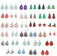 크리스마스 패턴 PU 가죽 귀걸이 디자이너 크리스마스 트리 벨 산타 모자 물방울 무늬 물방울 귀걸이 더블 사이드 머리 긴 DropD9209 인쇄하기