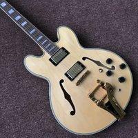 Nouvelle mesure standard, F corps creux guitare électrique, gitaar couleur bois naturel, guitarra instruments de musique, système vibrato