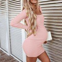 Langärmlig mit Rundhalsausschnitt, figurbetontes Kleid Mode für Frauen beiläufige Kleider Pregnancy Designer Damen Kleider beiläufige reizvolle dünne Solid Color