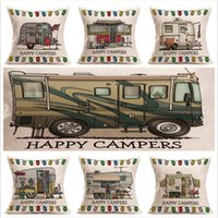 45cm * 45cm campeurs heureux oreiller en coton lin motif Rv couvertures canapé taie d'oreiller Cartoon housse de coussin carré coussins décoratifs