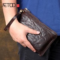 AETOO Original retro wrinkled short zipper clutch bag Original leather cross wrap short zipper clutch bag