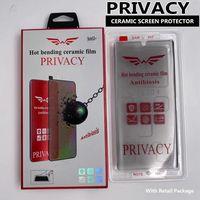 Privacidade Cerâmica Cerâmica Protetor de Cerâmica para Samsung Galaxy S21 S20 Note20 Ultra S10 S8 S9 Note10 Plus Support Fingerprint Unlcok Anti-Peeeping Filme com pacote