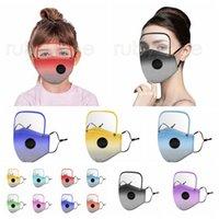 2 en 1 máscara facial con máscaras Escudo extraíb de ojos del color del gradiente a prueba de polvo reutilizable Ciclismo facial protectora para los niños RRA3561 Adultos