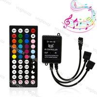 RGB Controllers Music Voice Sensor IR44Keys DC12V Double Output 4pin Lighting Tillbehör för 3528 5050 Strip Moduler Tvättlampa DHL