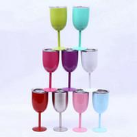 Cocktail 10 once tazza isolata Vino Con tenuta coperchi in acciaio inox vino calice di vetro doppia per la cucina Drinkingware EEA2446