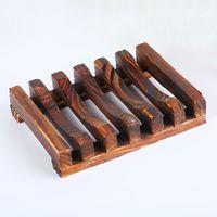 Saboneteiras madeira carbonizada à prova de umidade Soap titular criativa simples Bamboo Manual de Sabões Box Sabões prateleira do banheiro Fontes 360pcs T1I2401