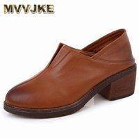 ドレスシューズMVVJKE LAY REALレザー厚いヒールレディースパンプス女性のファッション尖った尖ったスリップオン靴双方向着用E172
