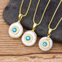 Süße Zirkon Evil Eye Charm Natürliche Münze Süßwasser Perle Perle Gold Link Kette Anhänger Choker Halskette Für Frauen Schmuck Geschenk