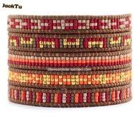 Estilo de tenis Red Series MEZCED Semillas Beads Pulsera de plástico de cuero de alta calidad