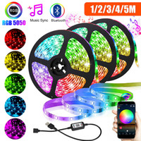 USB Tira de luz LED SMD 5050 RGB de colores de cinta DC5V luz LED flexible de la cinta Bluetooth TV impermeable iluminación de fondo