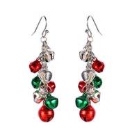 Pendiente cuelgan los pendientes de los pendientes de gota de la borla de las mujeres Campanas de Navidad Jingle Bell gota para el oído de la bola de Navidad para la niña linda de la joyería del regalo de Navidad del partido