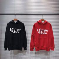 Espesar con capucha Rojo Negro Hombres Mujeres 1 carta alta calidad Frente 3D tinte manga bordado con capucha
