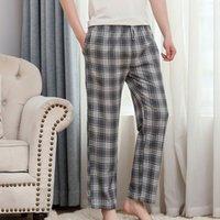 Autunno del cotone degli uomini molli casa pigiama pantaloni Large Size Plaid Stampa Sleepwear Pantaloni Maschio Pantaloni Homewear sonno