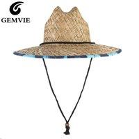 Sombreros de ala ancha Gemvie Lifeguard Safari Safari Sombrero para hombres sol verano sol con cordón de barbilla