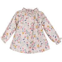 Girls Blouse Floral Long-sleeved Shirts For Girls Cotton Baby Girls Shirt Autumn Stand-collar Child Kids Baby Toddler Tops