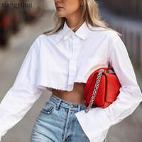 Camisa irregular de manga larga de las mujeres blusa blanca Mujer Moda gira el collar abajo camisas cortas casual solo pecho Crop Top