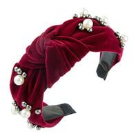Corea del encanto Bowknot grande venda ancha para el partido del color del terciopelo Hairband Mujer Mujer elegante simulado perla sólida Accesorio para el pelo