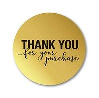 Grazie di cuore Sticker Sealed rotonda busta cottura Diy torta Paster Lettera di colore dell'oro di 25 millimetri di alluminio di carta Nuovo 6zq D2