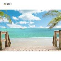 Фоновые материалы Тропические фоны Летний праздник корабль морские волны пляжные пальмы дерево лестница лестницы ребенка живописная соискание фона для PO STUDI