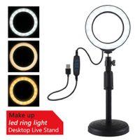 4.7 inch LED Selfie Ring Light Photo voor Live / Video-opnamen Dimbare YouTube met desktopstandaard 3000-5000k make-up vullicht