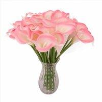 10pcs / set PU Artificial real toque de Calla Lily Wedding Flower Home Decor Bride Bouquet (Jarra não incluído)