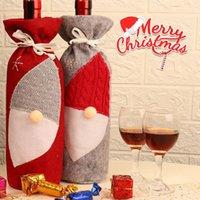 Botella de vino rojo de la cubierta de Santa Bolsas sin rostro del partido Decoración de Navidad Gnome Botellas cubierta decoración 2 colores LJJK2480