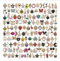 Misturar 150 pcs descobertas de jóias a granel gotejamento de óleo artesanal diy acessórios de jóias encantos pingente apto brinco bracelete colar jóias faz