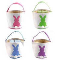 11pcs lot Cute New Arrival 18 Colors Canvas Easter Tail Bucket Easter Bags Kids Gift Basket Tote Bag 2020