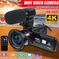 Professionale 4K WiFi HD Videocamera Videocamera Videocamera Vision notturna 3 pollici Touch screen LCD TOUCH SCREEN 16X Digital Zoom Camera con microfono Lente