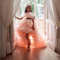 أعلى أدنى المتدرج تول بنات مسابقة فساتين طويلة الطبقات زهرة الفتيات اللباس أحمر الخدود الوردي الكشكشة عيد ميلاد الاطفال أثواب Vestidos
