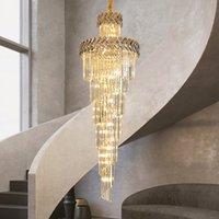 Роскошная современная люстра освещение для лестничного большого длинного дымчато серого кристалла лампы прихожей лобби золота внутреннего освещения 2020