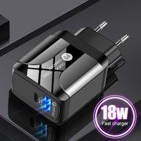 PD18W المحمول شواحن الاتحاد الأوروبي / الولايات المتحدة / المملكة المتحدة الهاتف فرض رسوم التوصيل USB شاحن كابل شاحن متوافق QC3.0 شحن سريع مع LED