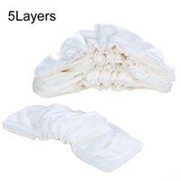 Couches en tissu 5pcs Pays de coton de bambou lavable Inserts réutilisables 5Layers Changement de nappe Nappies bébé Nappies