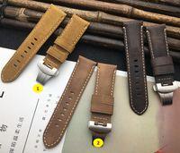 Retro Crazy Horse Real Cuir Brown de 24mm de montre de 24mm pour sangle pour PAM441 Bracelet Bandes d'observation Boucle à Boucle à boucle Papillon