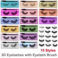 Hot 15 estilos pestañas falsas naturales suaves natural grueso de 3D Mink pestañas de extensión del brillo de visón pestañas con pestañas maquillaje de la pestaña del cepillo del ojo