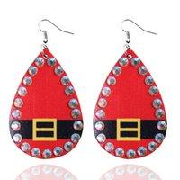 Crystal Pave Surround Leather Christmas Earrings for Women Rhinestones Santa Belt Buckle Print Teardrop Christmas Tree Earrings Jewelry