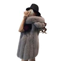 Kadın Kürk Faux Yüksek Kaliteli Kadın Kış Ceket Moda Mont Katı Kapşonlu Yelek 3XL Kolsuz Sıcak