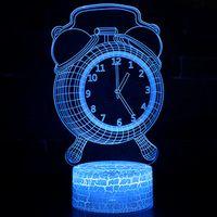Acrylic 3D Dekorativ atmosfär Lampa USB Fjärrkontroll Touch 3D Night Lights Creative Alarm Clock 3D Visual Stereo Bordslampa