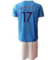 Mens personalizado 21-22 10 Kun Agüero 7 Sterling 33 G.Jesus 19 Sané 21 Silva 17 de Bruyne 18 Delph 47 Foden Futebol Jerseys Conjuntos com shorts