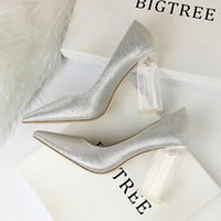 12 Colors Women Sexy Transparent Crystal Heel Pumps Wedding Silk High Heels Female Office Shoes Pointed Toe Party Ladies Shoes