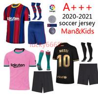 20/21 football adulte barce et kits enfants football chemise 2020 2021 FC BARCELONE Messi Griezmann DE JONG de l'homme camiseta et enfant maillot de foot