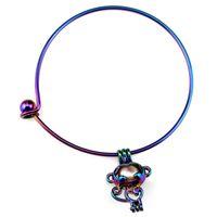 Bangle B-C70 Rainbow Aap Kralen Kooi Medaillon Pols Meisje Vrouwen Uitbreidbare Draad Stalen Armband