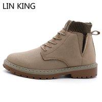 Botas Lin King Suede Cuero Hombres Otoño Invierno Tobillo Calzado Calzado Lace Up Zapatos Alta Calidad Vintage Hombre