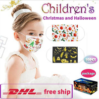 Christmas Halloween Children kids face masks 50pcs disposable masks Earloop face masks dust-proof masque DHL free shop in 48 hours 7-10 days