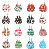 Pendientes de gotas de agua pendientes populares PU diseñadores Diamante árbol de Navidad pendientes del muñeco de Santa Claus gota largos para las mujeres D9210