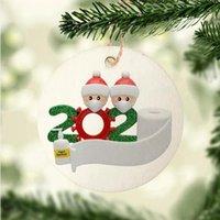 8 centimetri Rotonda 2020 Quarantine Famiglia di Natale fai da te Carta Legno Albero di Natale d'attaccatura della Santa pendenti di decorazione del partito LJJP555