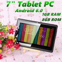 7-дюймовый A33 Quad Core Tablet PC Q8 Allwinner Android 6,0 емкостный 1.5GHz 1GB RAM 8GB ROM WIFI Bluetooth Двойная камера Фонарик Q88 MQ50